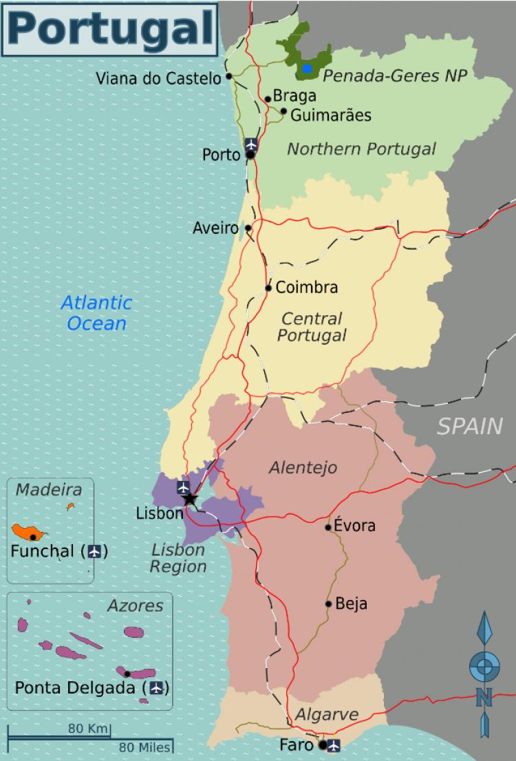 Карта регионов Португалии