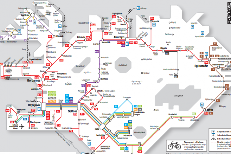 Карта исландского транспорта