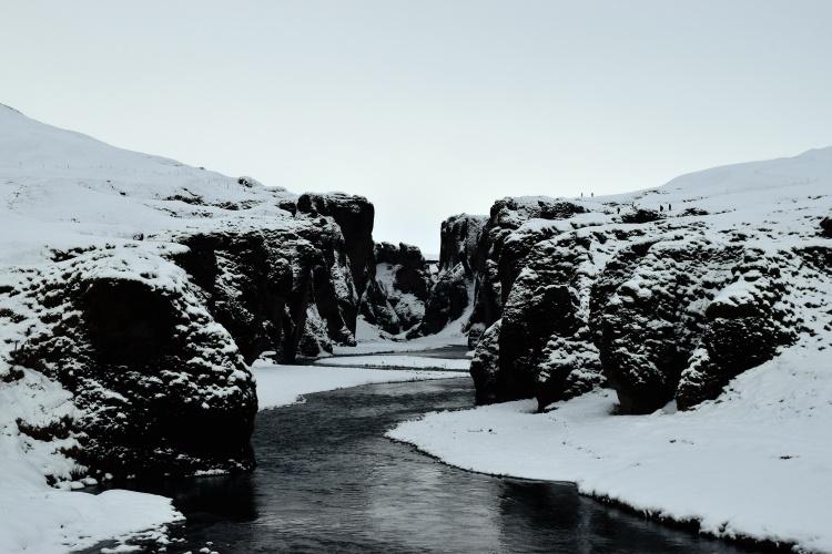 Каньон Фьядрарглйуфур зимой