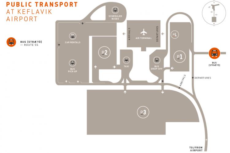Схема расположения общественного транспорта в аэропорту Кефлавик