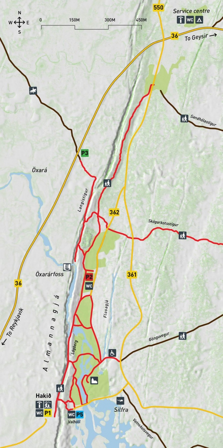 Карта-схема Национального парка Тингвеллир