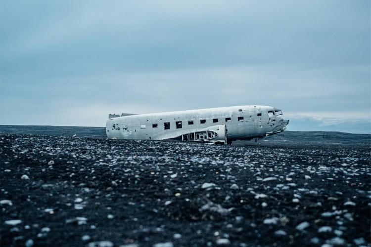 Место крушения самолета в Исландии