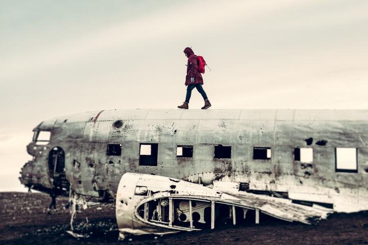 Упавшний самолет в Исландии достопримечательность