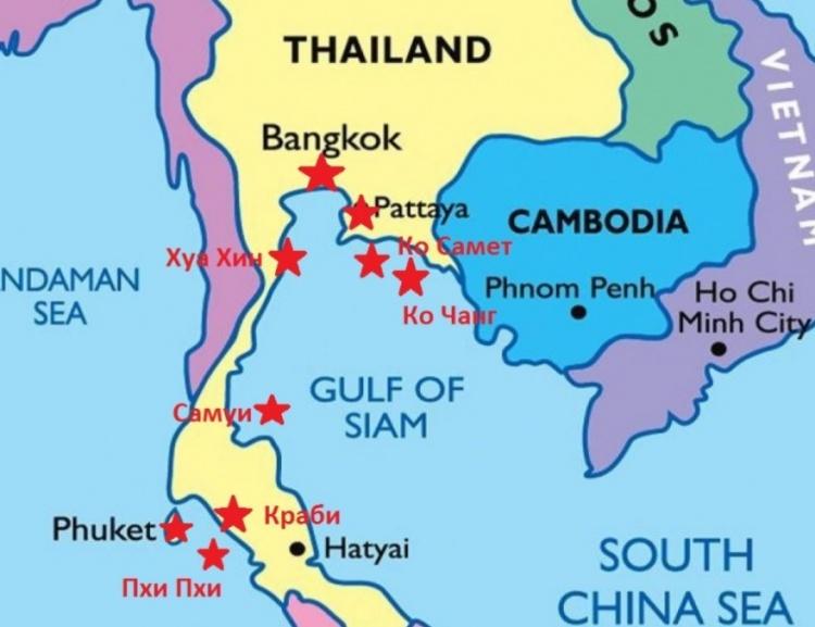Карта пляжей Таиланда