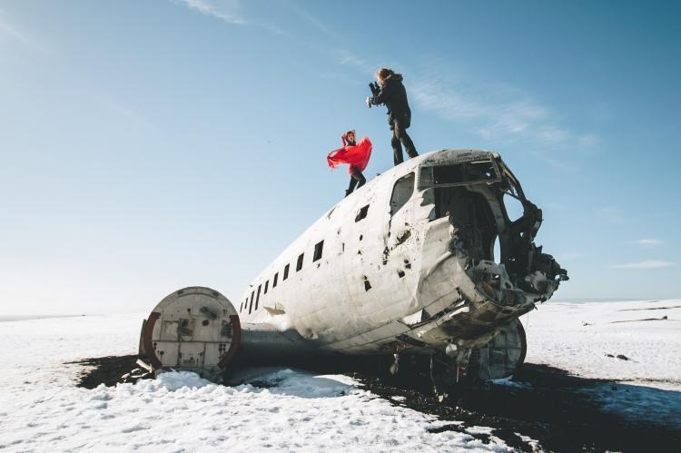 Самолет в Исландии разрушенный