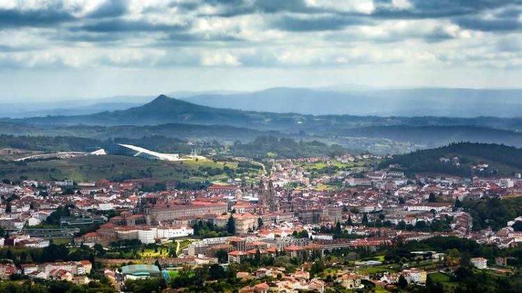 Городок Сантьяго-де-Компостела в Испании