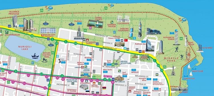 Карта-схема Старого бульвара, Батуми