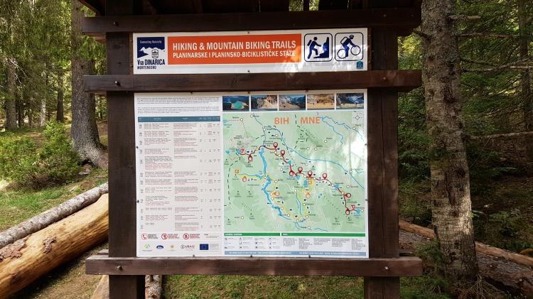 Карта пеших и велосипедных маршрутов в Дурмитор