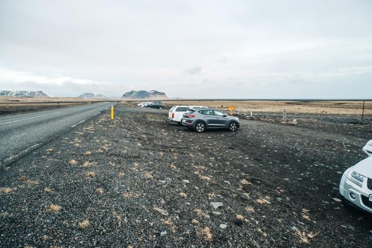 Место стоянки и начало маршрута до места крушения самолета в Исландии