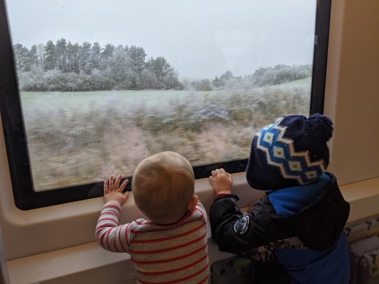 Дети в поезде в Германии