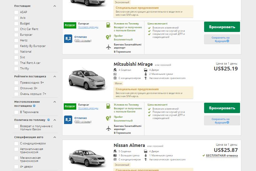 Сайт-агрегатор аренды авто