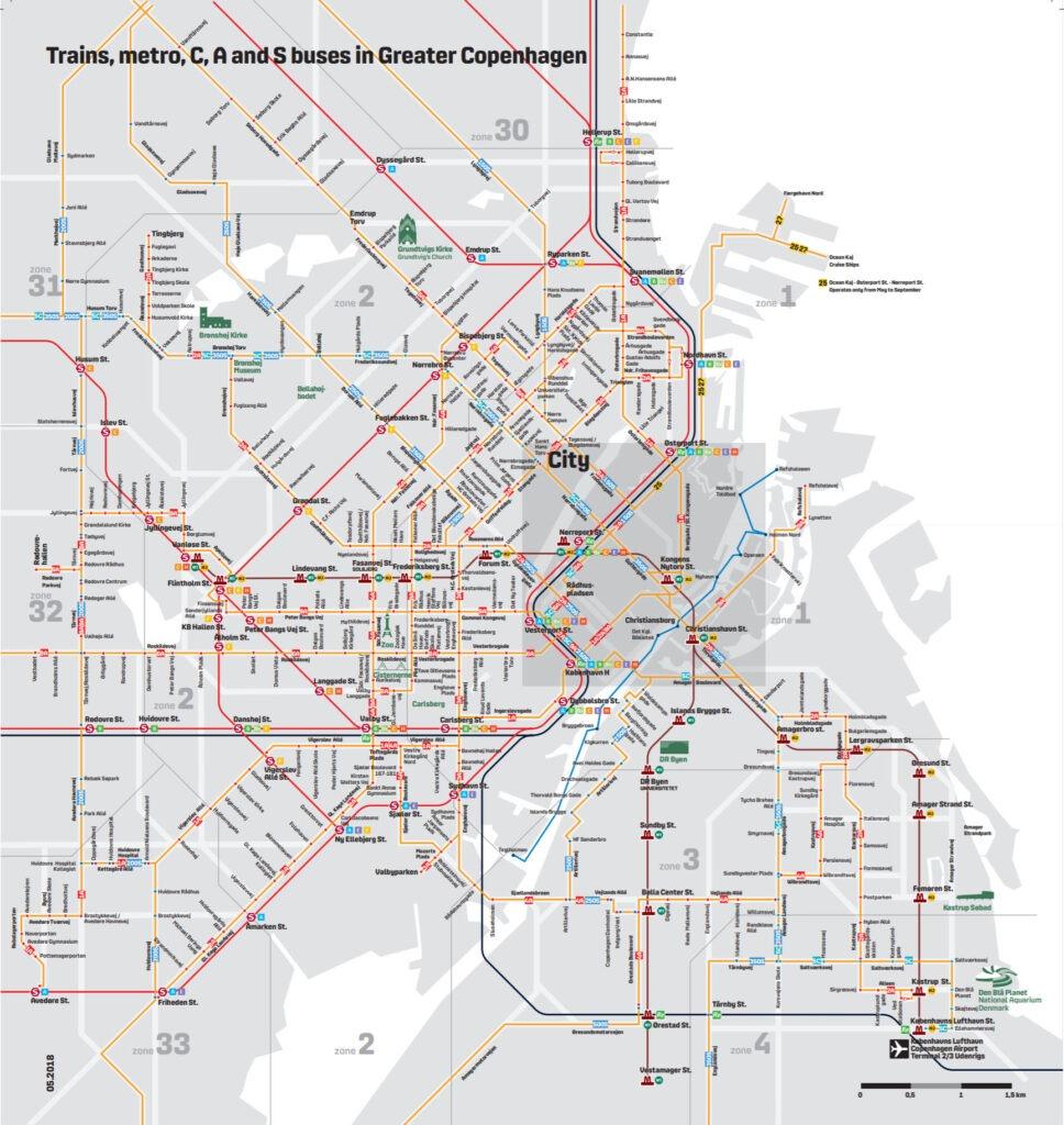 Схема автобусов, метро и поездов Копенгагена и окрестностей