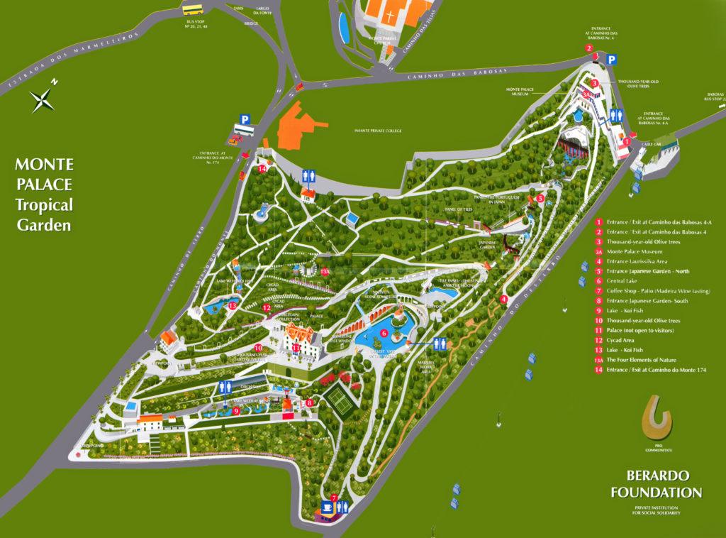 Карта тропического сада дворца Монте