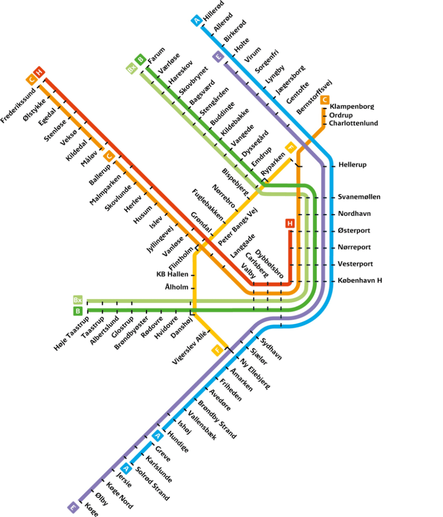 Карта маршрутов S-Tog Дания