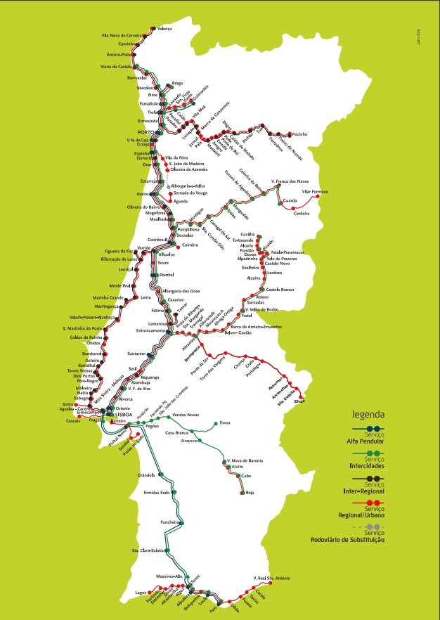 Карта жд Португалии