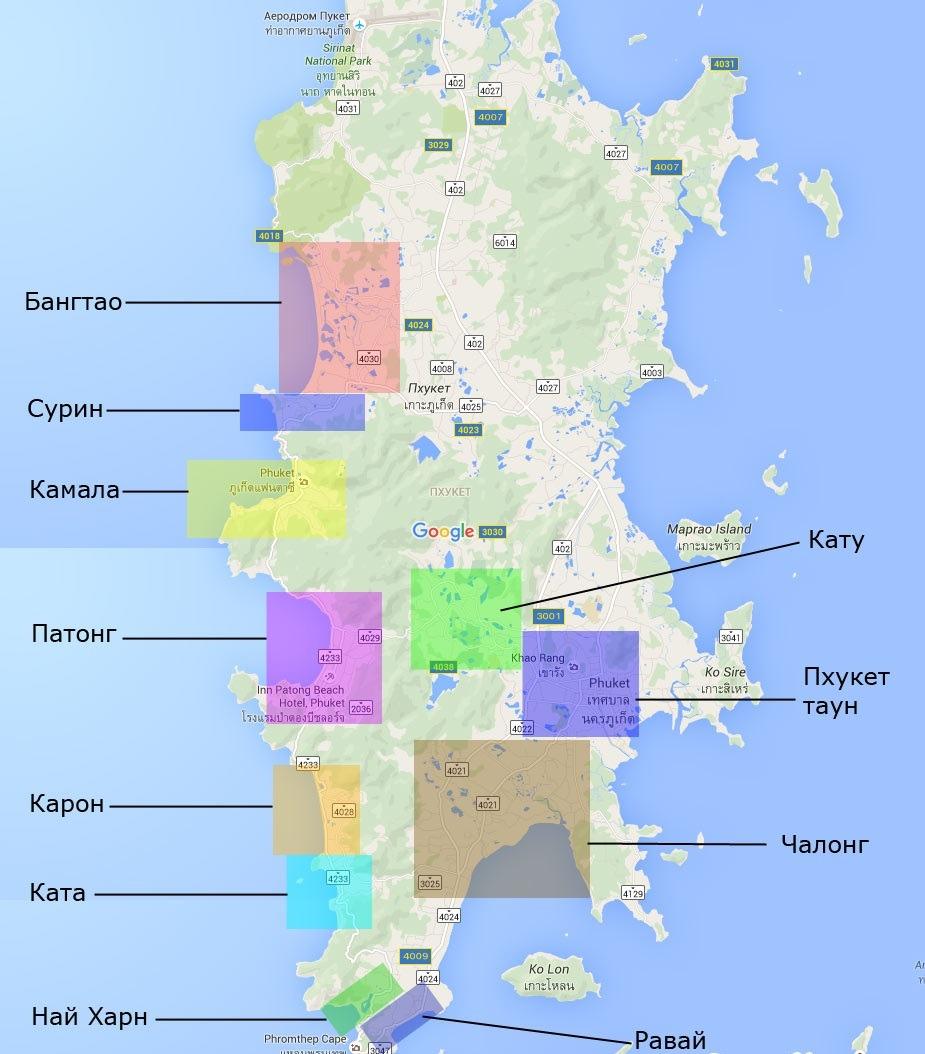 Пхукет карта районов