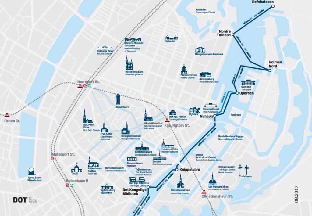 Схема движения портовых автобусов в Копенгагене - часть 1