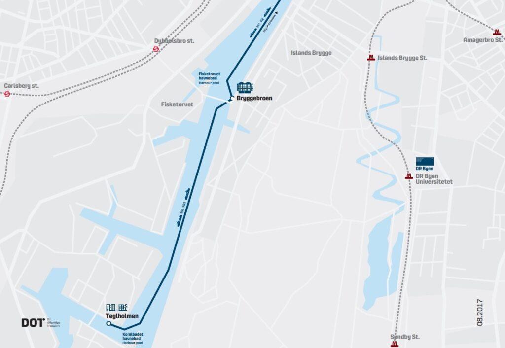Схема движения портовых автобусов в Копенгагене - часть 2