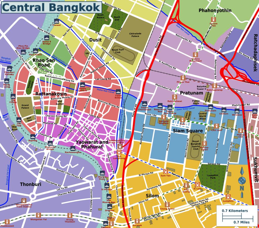 Карта центральной части Бангкока