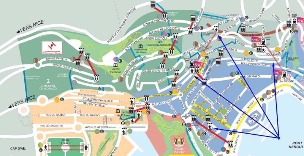 Движущиеся тротуары в Монако полная карта