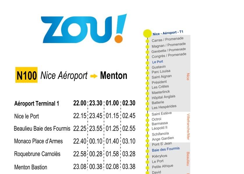 Маршрут Line 100 - Nice - Monaco - Menton