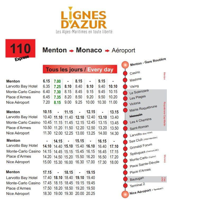 Маршрут Line 110 - Nice Airport - Monaco - Menton