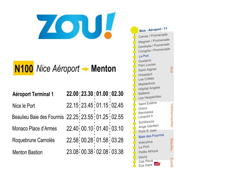 Маршрут Line N100 - Night bus Nice - Monaco - Menton