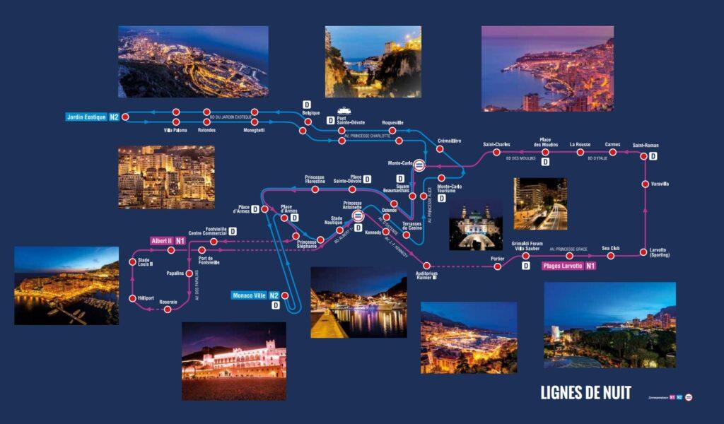 Ночные автобусные линии в Монако