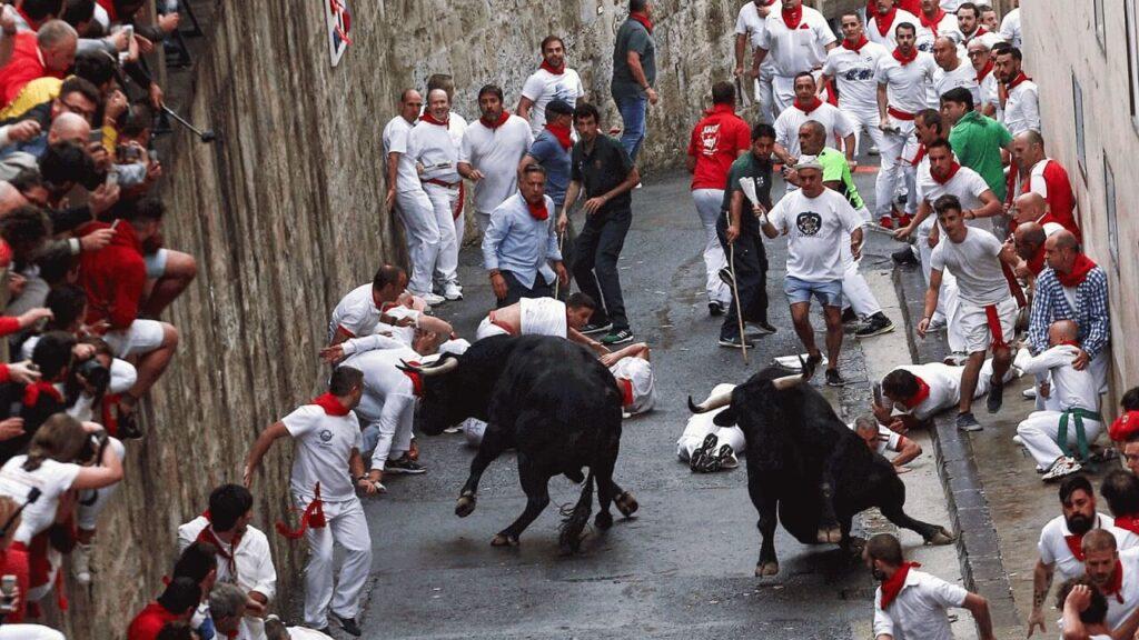 Испания Бег с быками San-Fermin в Памплоне