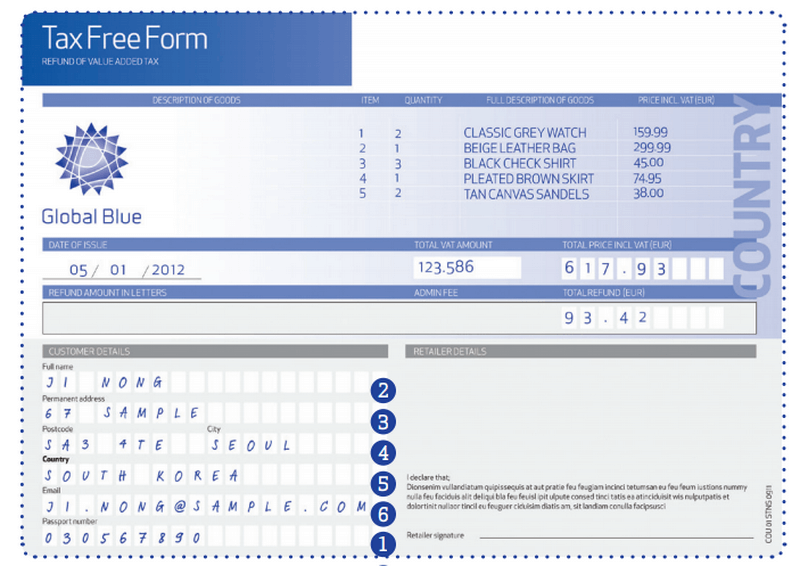Образец формы Tax free от Global Blu