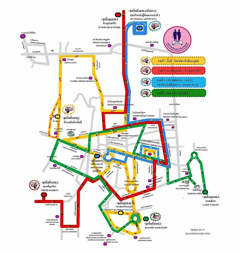 Карта маршрутов розовых автобусов Пхукет