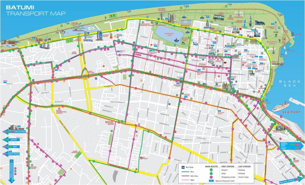 Схема движения автобусов в Батуми