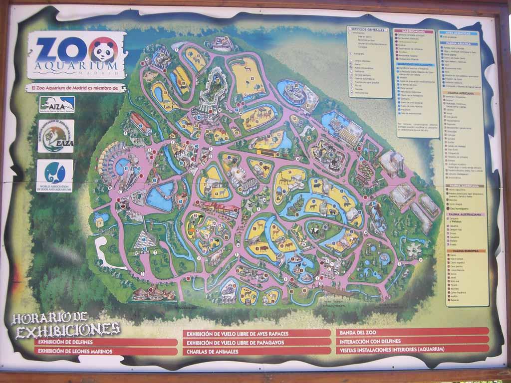 Карта зоо-аквариума Мадрида