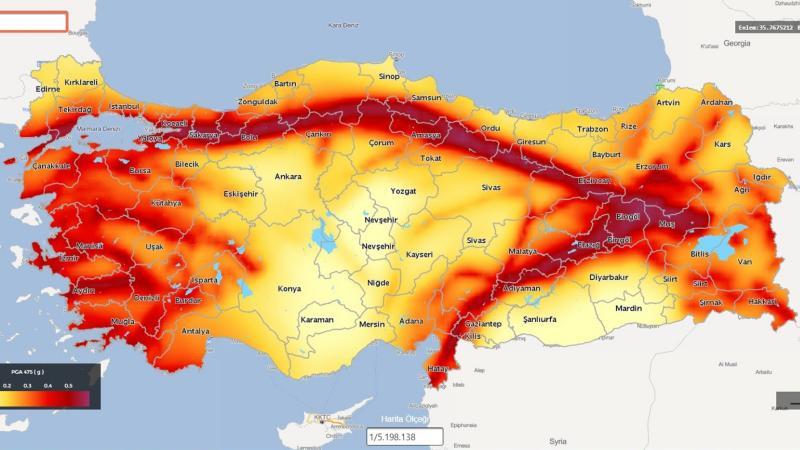 Карта сейсмоопасных районов Турции