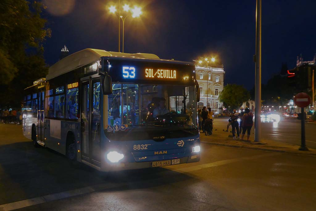 Мадрид, движение автобусов ночью