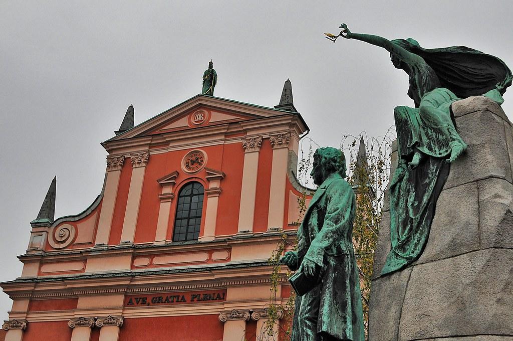 Как добраться до памятника Прешерну в Любляне